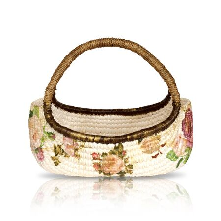 Wicker basket decorated beautifully painted flower.  photo