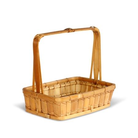 wickerwork: Bamboo basket isolated on white background