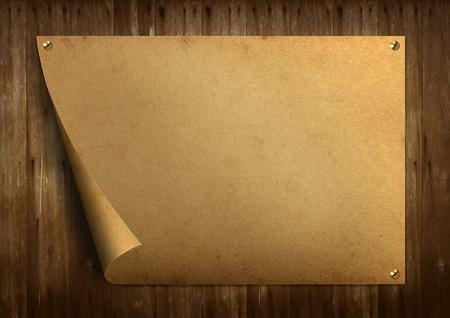 Old vintage paper on old wood background  photo