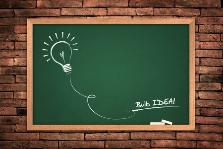 Drawing of a bulb idea green blackboard on wall background.  Stock Photo - 10311466