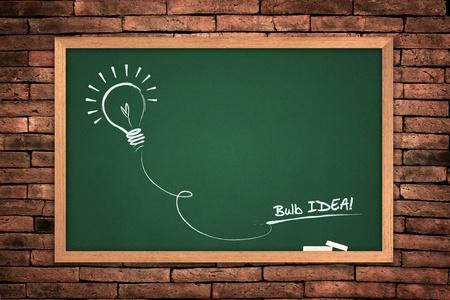 clip board: Drawing of a bulb idea green blackboard on wall background.  Stock Photo