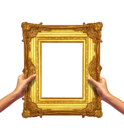 frame gold in woman hand isolated  Stock Photo - 10311621