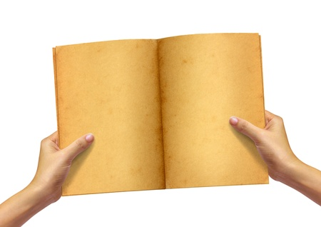 Old book in woman hand on white background Stock Photo - 10311620
