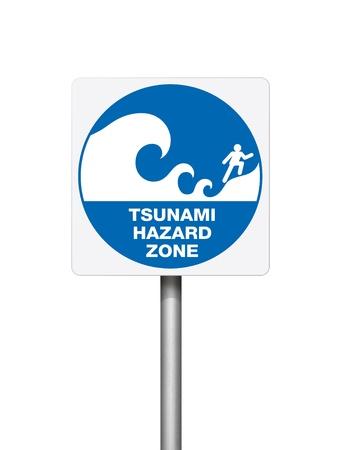 Tsunami warning blue signs on white background  Stock Photo - 10311604