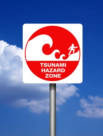 Tsunami warning red signs on blue sky background  photo