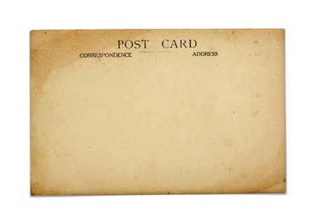 reverse: Reverse side of an old postcard.  Stock Photo