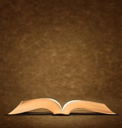 diccionarios: Libro antiguo abierto sobre fondo marr�n.