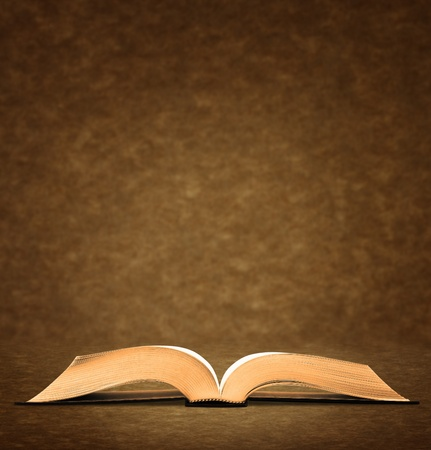 dictionaries: Open old book on brown background. Stock Photo