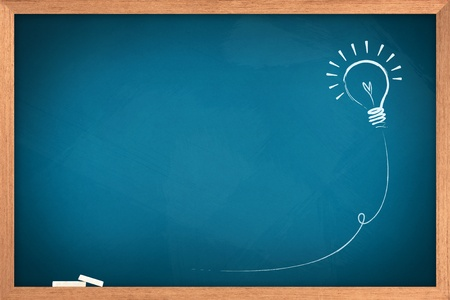 Drawing of a bulb idea on blue board  Stock Photo