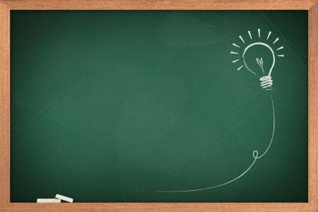 Drawing of a bulb idea on green board Stock Photo - 10017093