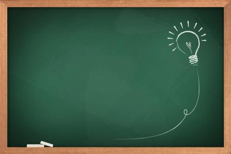 Tekening van een bol idee op groene boord Stockfoto