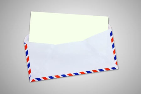 Envelope, letter with blank Brown paper on gray background  photo