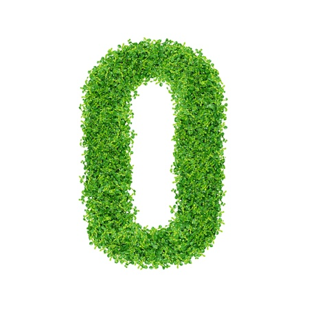 Numbers made of Small green plants and green grass