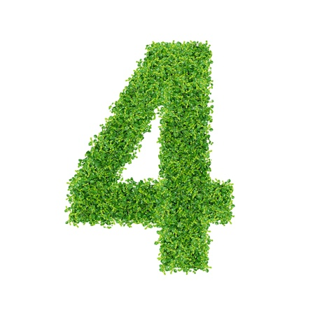 Numbers made of Small green plants and green grass photo