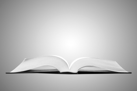 Open book on gray background Stock Photo - 10016994