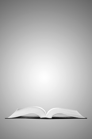 assignments: Open book on gray background