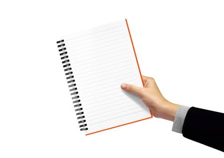 diary note in hand, businesswoman on white background  photo