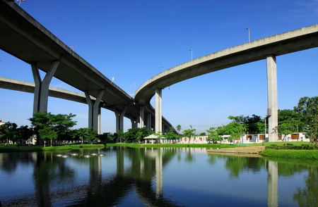 expressway: Bhumibol Bridge, The Industrial Ring Road Bridge bangkok, thailand