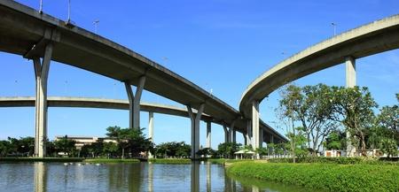 expressway: Panorama Bhumibol Bridge, The Industrial Ring Road Bridge bangkok, thailand