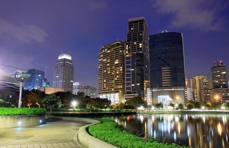 bangkok night: Buildings in the park of bangkok, thailand.