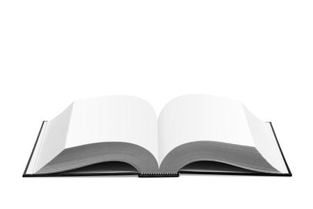 Aperto libro su sfondo bianco.