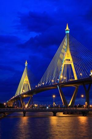 Mega bridge at night in Bangkok,Thailand