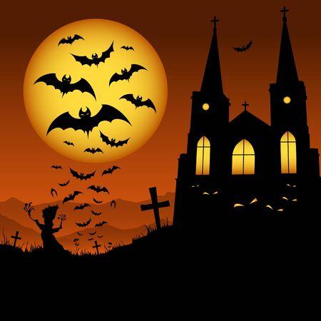 spooky tree: Halloween at night