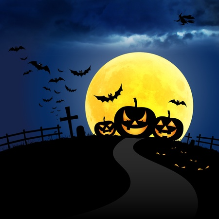 Halloween at night on the moon and blue sky Stock Photo
