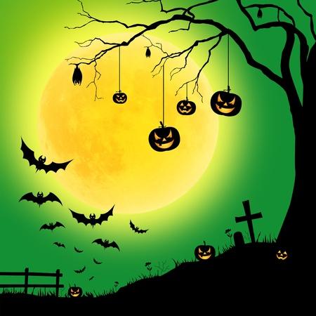 Halloween at night on the moon photo