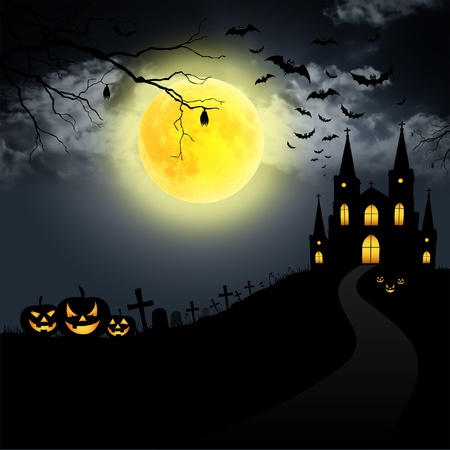horror house: Full moon on Halloween. Stock Photo