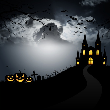 creepy: Pumpkin, scary monster in the cemetery on Halloween. Stock Photo