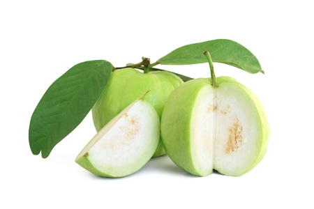 guava: Guavas with leaves and guava were cut into pieces
