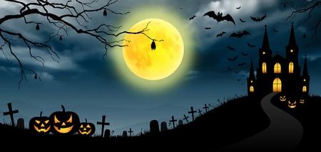 spooky graveyard: Halloween full moon, panorama.