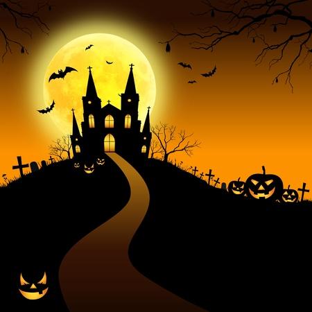 gravestones: Halloween house on orange background Stock Photo