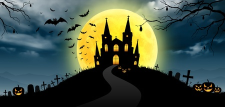 graveyards: Halloween on the moon background, panorama