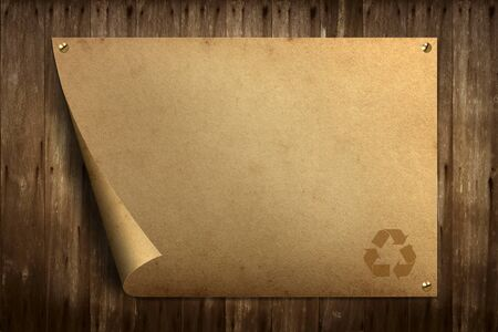 Recycle old paper on old wood background Stock Photo - 10896989