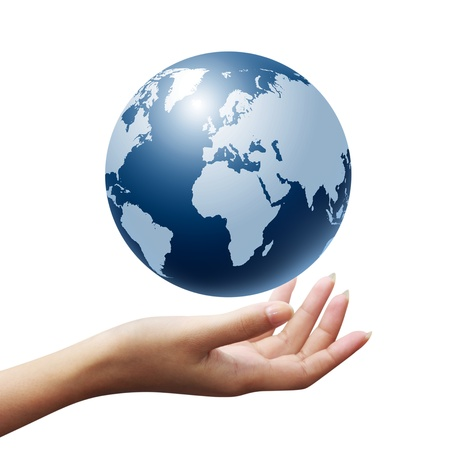 globe in hand: Globe on her hand isolated