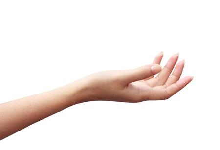 흰색 배경에 빈 오픈 여자 손 스톡 콘텐츠