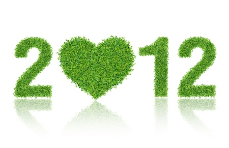 2012 New Year Made of grass material. consists of grass heart Stock Photo - 10989314