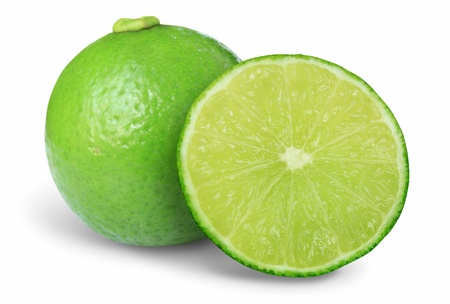 seedless: Green lime isolated on white background