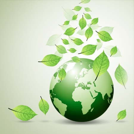 you love world and green leaf Stock Photo - 10989327