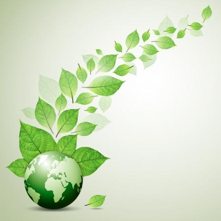 green globe: fresh green leaves Take care of your globe Stock Photo