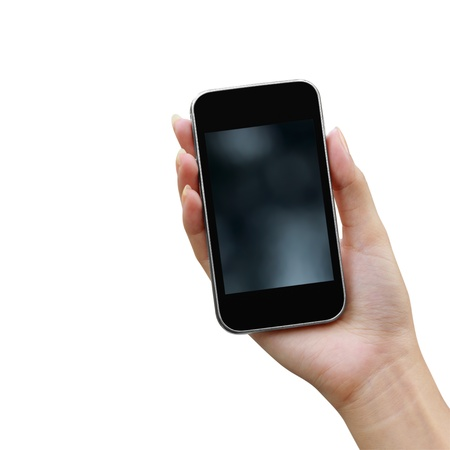 talk to the hand: Mobile phone in the hand isolated on white background