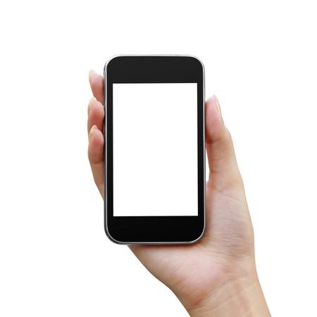 phone button: De moderne mobiele telefoon in een geïsoleerde vrouw hand