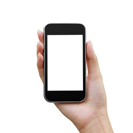Modern mobile phone in a woman hand isolated photo