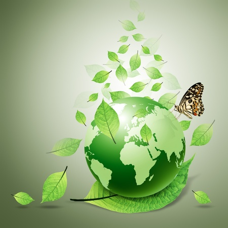 green earth: world and green leaves, butterfly Stock Photo