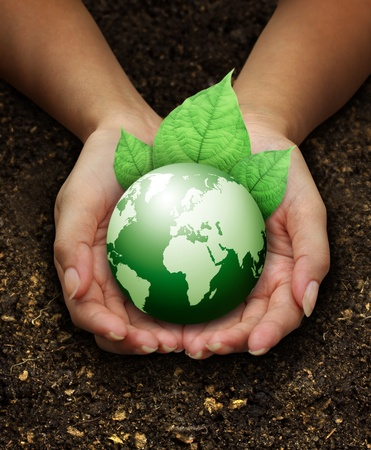 protection of land: human hands holding green earth with a leaf on Fertilizer soil background  Stock Photo