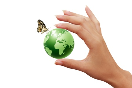 recycling plant: green earth globe in woman hands and butterfly  Stock Photo