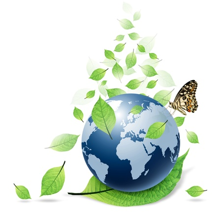 blue world and green leaf and butterfly isolated Stock Photo - 11271466