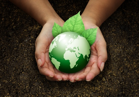 human hands holding green earth with a leaf on soil Stock Photo - 11271476